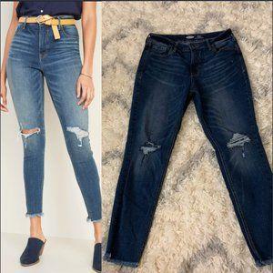 High-Waisted Raw-Edge Rockstar Super Skinny Jeans